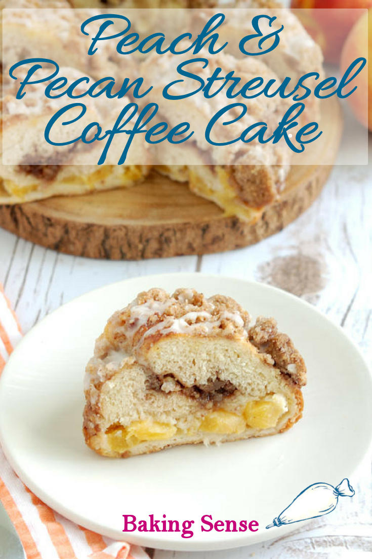 Peach & Pecan Streusel Coffee cake is made with a yeast dough enriched with butter, milk and eggs. The tender cake is layered with a brown sugar pecan streusel and chunks of fresh peach. The brown sugar crumb topping and peach glaze are the crowning glory of this luscious breakfast (or dessert) treat. #coffeecake #peach #moist #yeast