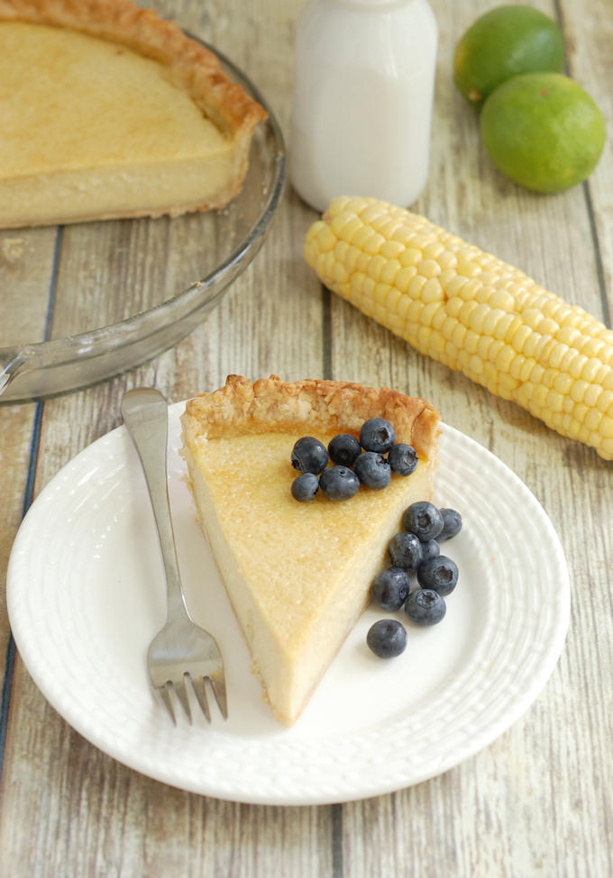 a slice of Sweet Corn Buttermilk Pie