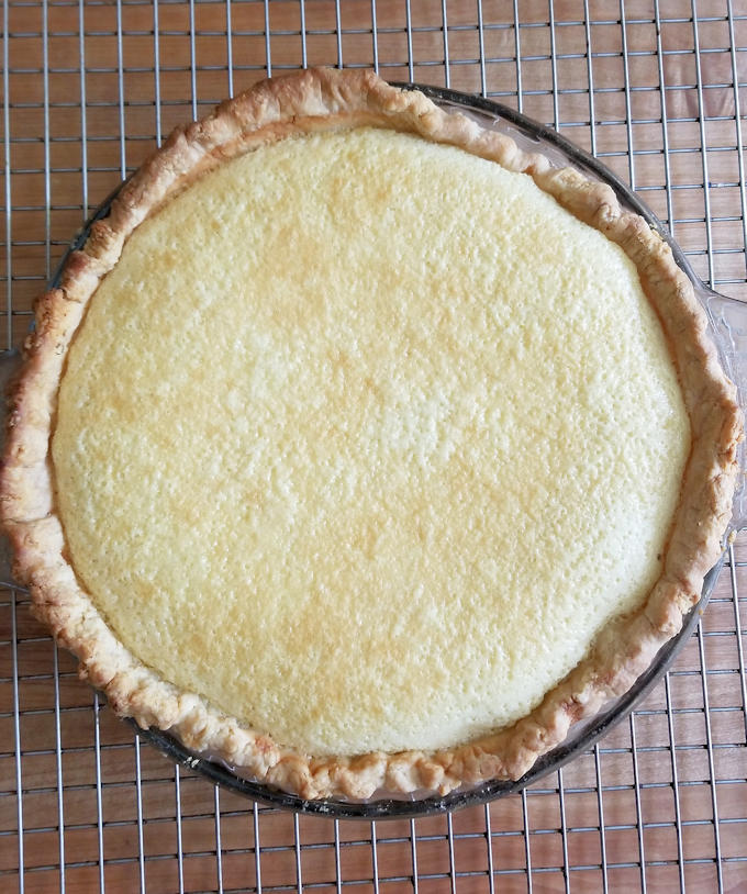 sweet corn buttermilk pie fresh from the oven