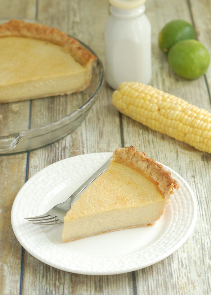 a slice of buttermilk pie made with sweet corn