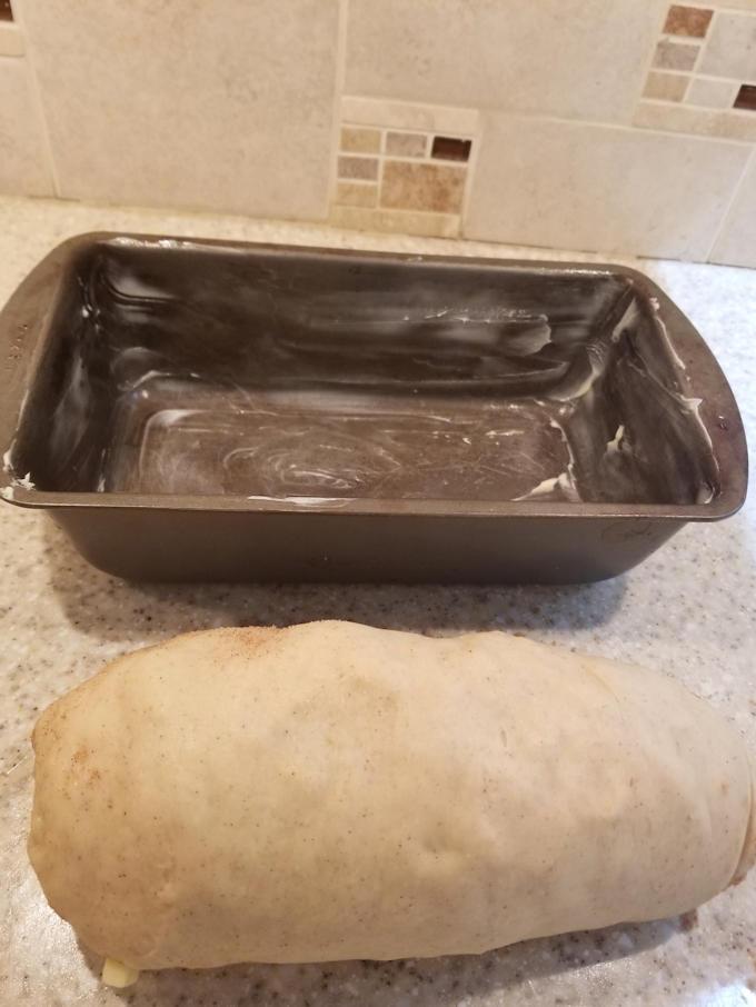 fresh apple cinnamon swirl bread ready for the pan