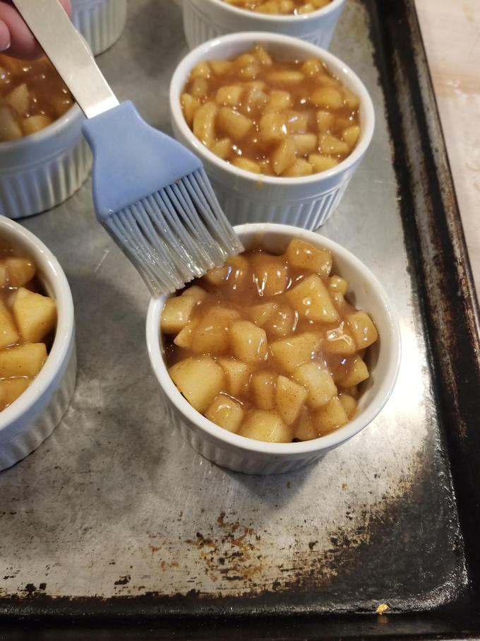 prepare the ramekins for apple bourbon pot pie