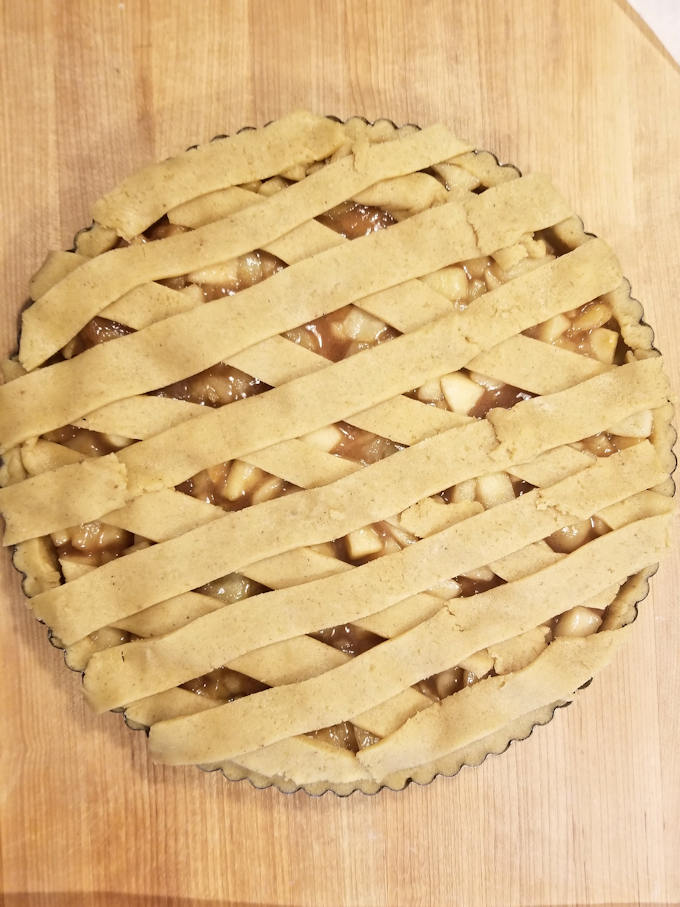 apple walnut linzer tart ready to bake