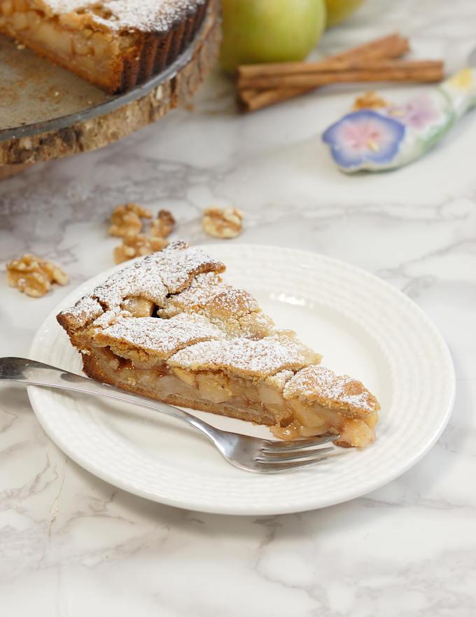 a slice of apple walnut linzer tart