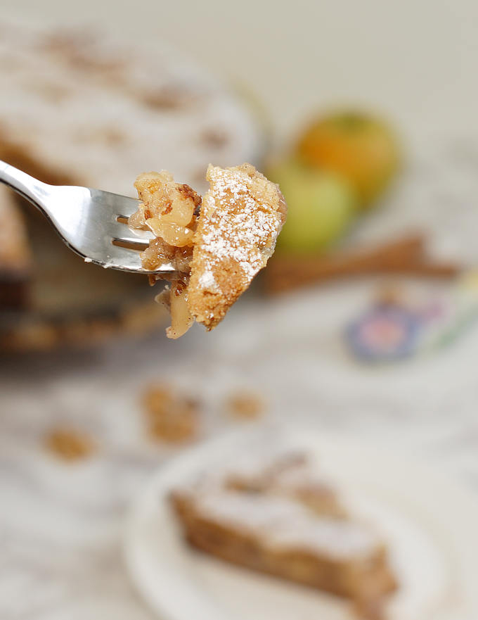 a bite of apple walnut linzer tart