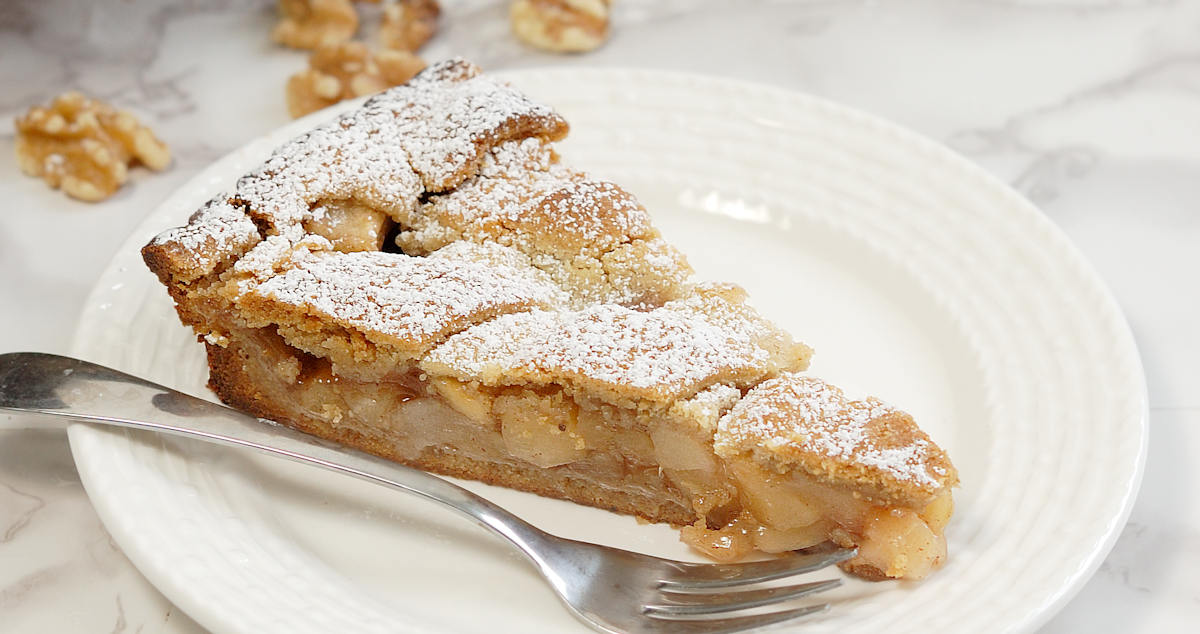 apple walnut linzer tart