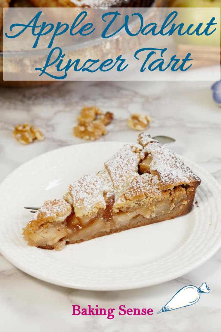 Apple Walnut Linzer Tart is a twist on the traditional raspberry-hazelnut tart. The crust is made with walnuts and the filling is made with fresh apples and cinnamon. #linzertart #apple #best #scratch #homemade #walnuts #autumn #thanksgiving #christmas #falldessert