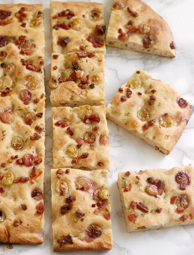 how to slice focaccia with pickled grapes and speck