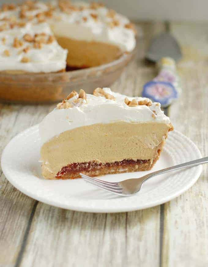 A slice of peanut butter mousse pie with hot pepper jelly