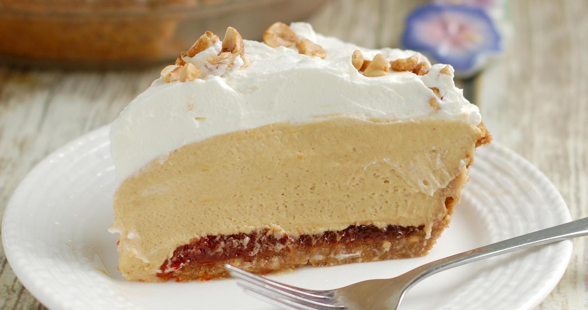 A slice of peanut butter mousse pie