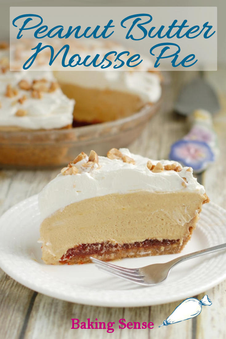 Peanut Butter Mousse Pie is made with a crunchy graham cracker-peanut crust filled with light and luscious peanut butter mousse. Add optional jelly or chocolate for another layer of flavor. #peanutbutter #mousse #pie #easy #light #best