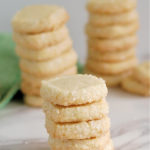 stacks of Sablé Cookies in a pinterest image with text overlay