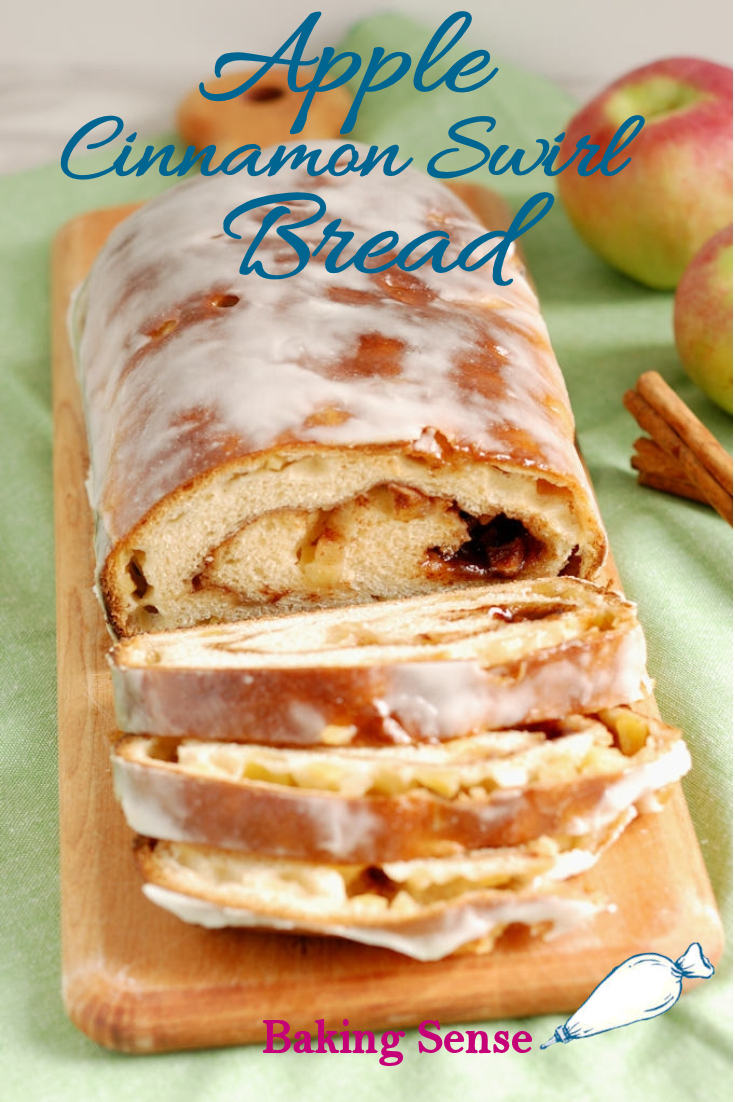 This Apple Cinnamon Swirl Bread is absolutely bursting with fall flavor. It's made with rich bread dough studded with chunks of fresh apples and swirled with brown sugar and cinnamon. Apple juice glaze is the perfect finish for this luscious bread. #scratch #freshapples #best #moist #glazed #brownsugar #makeahead