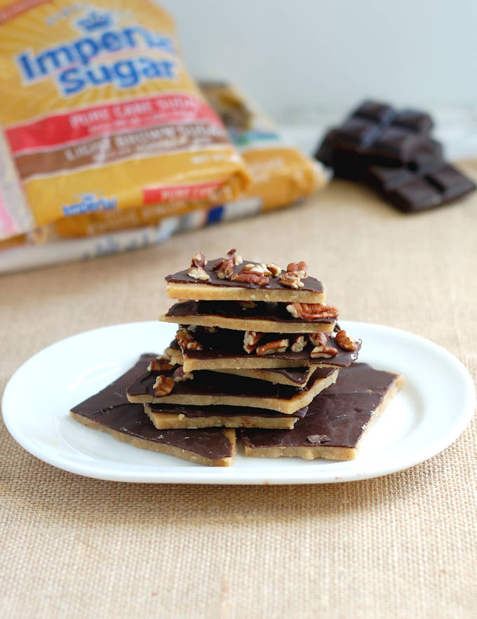 brown sugar toffee covered with chocolate