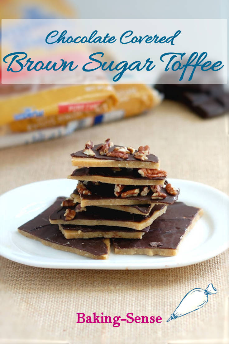 Chocolate Covered Brown Sugar Toffee is sweet, crunchy, chocolatey and surprisingly easy to make at home. Can you believe you only need 4 ingredients and less than 30 minutes to make homemade toffee? #brownsugar #toffee #chocolate #homemade #easy #best