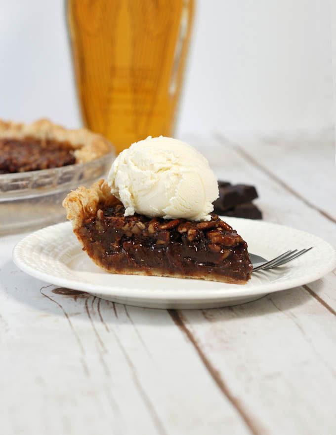 chocolate bourbon pecan pie with ice cream