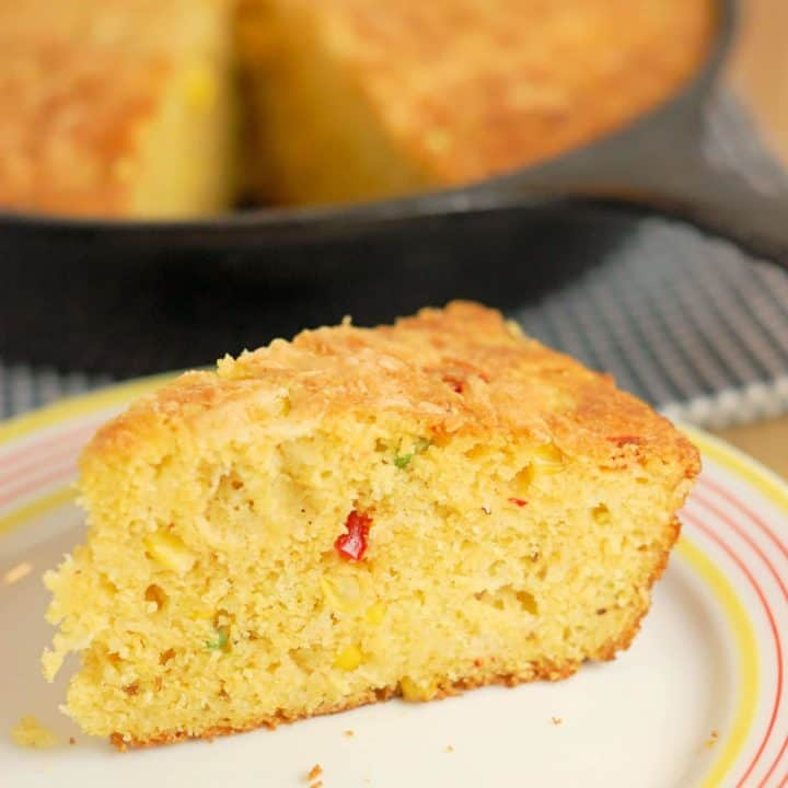Skillet Mexican Cornbread with jalapenos and cheddar