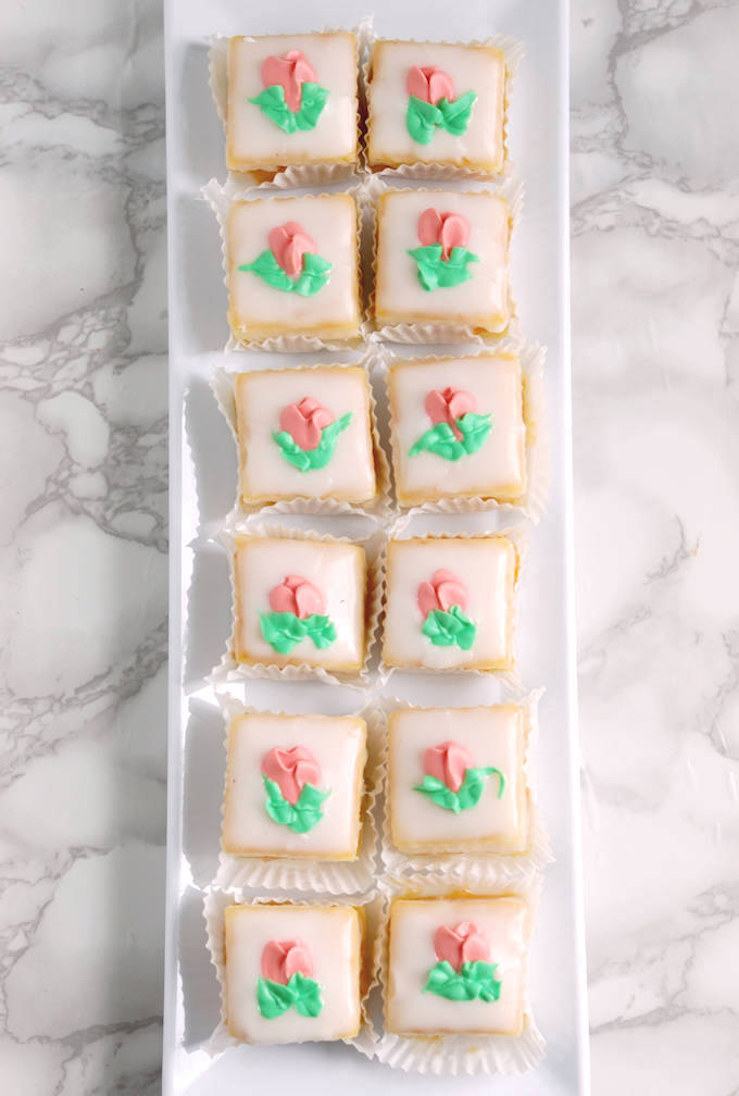 classic almond petit fours with flower