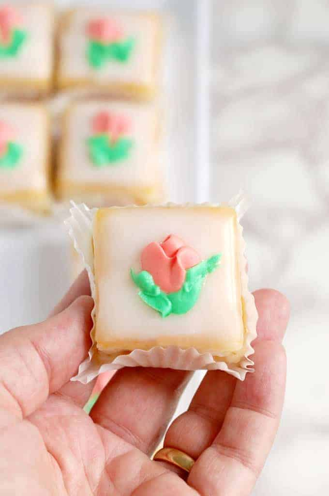 classic almond petit four with fondant icing
