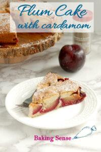 a pinterest image for plum cake