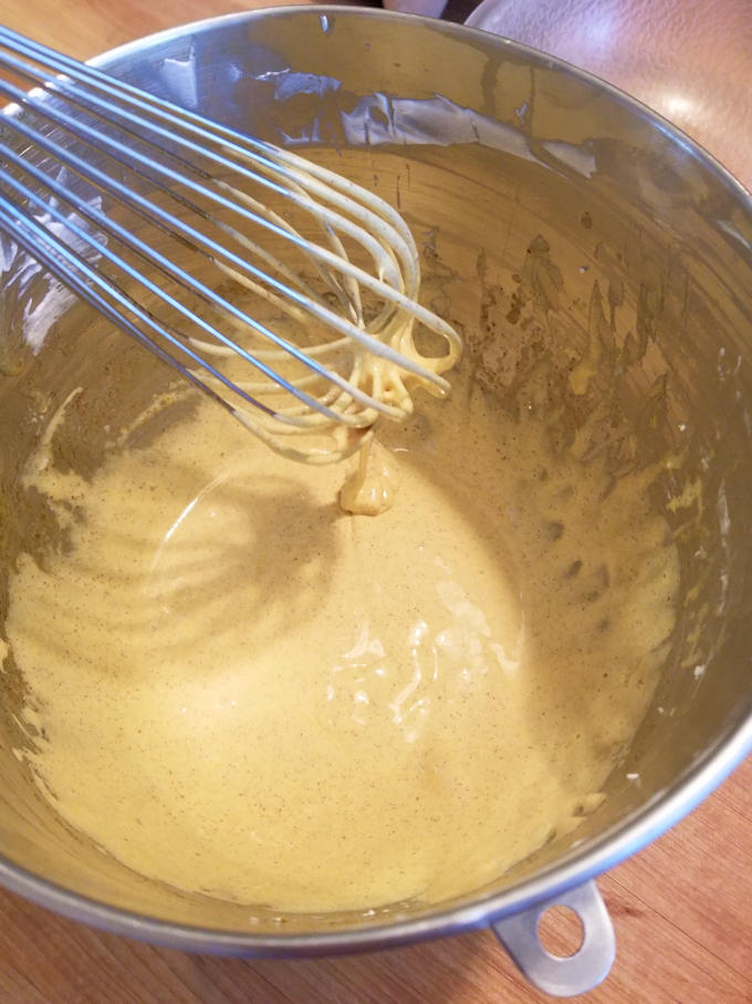 pumpkin mousse pie starts with egg yolks and sugar