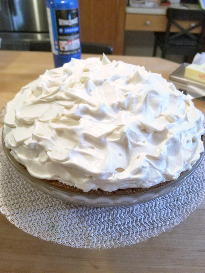 pumpkin mousse pie with brown sugar meringue