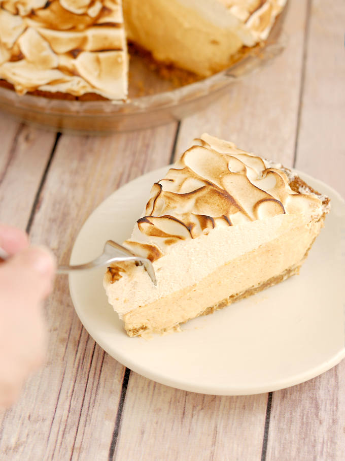 pumpkin mousse pie with toasted brown sugar meringue