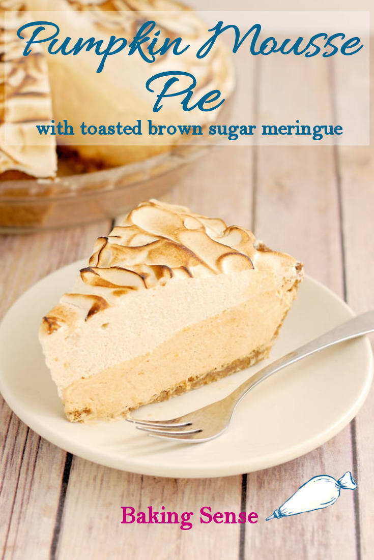 My Pumpkin Mousse Pie is made with a crunchy graham cracker-pecan crust filled with light and luscious pumpkin mousse. You can add optional bourbon for a kick or use water for alcohol-free version. The pie is topped with a mountain of luscious toasted brown sugar meringue. #bakingsense #pie #easy #pumpkin #mousse #best #light #airy #bourbon #boozy pecans #brownsugar #meringue #scratch