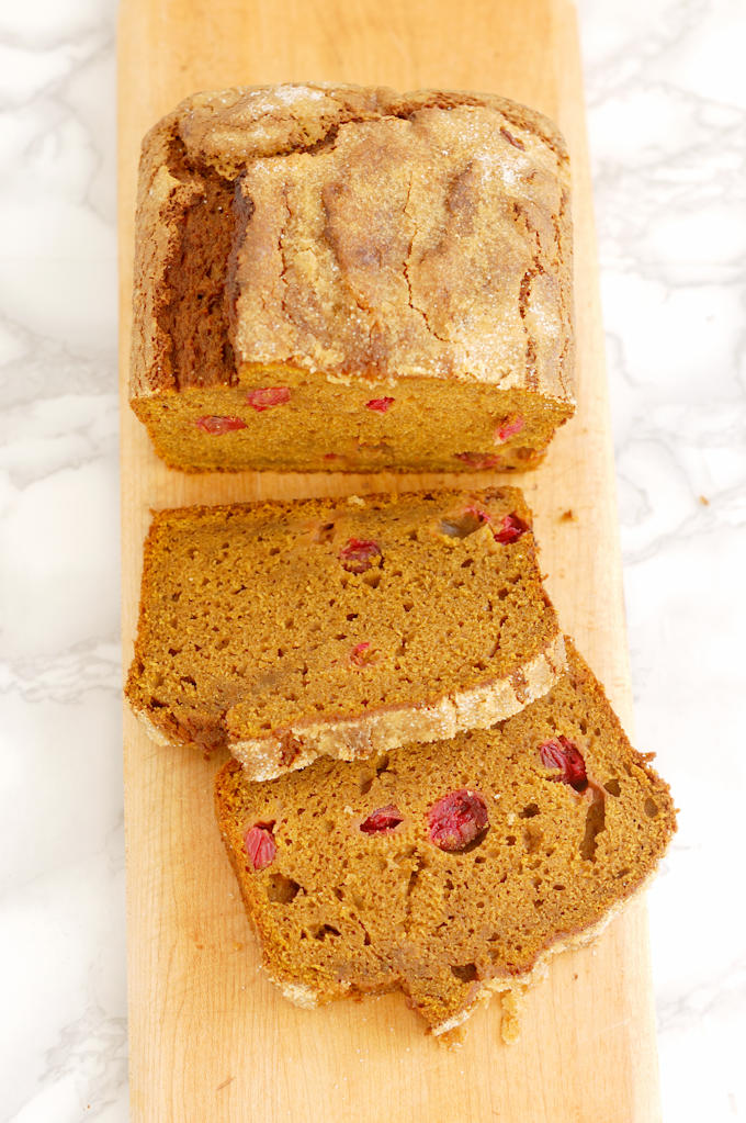 sourdough pumpkin cranberry quick bread