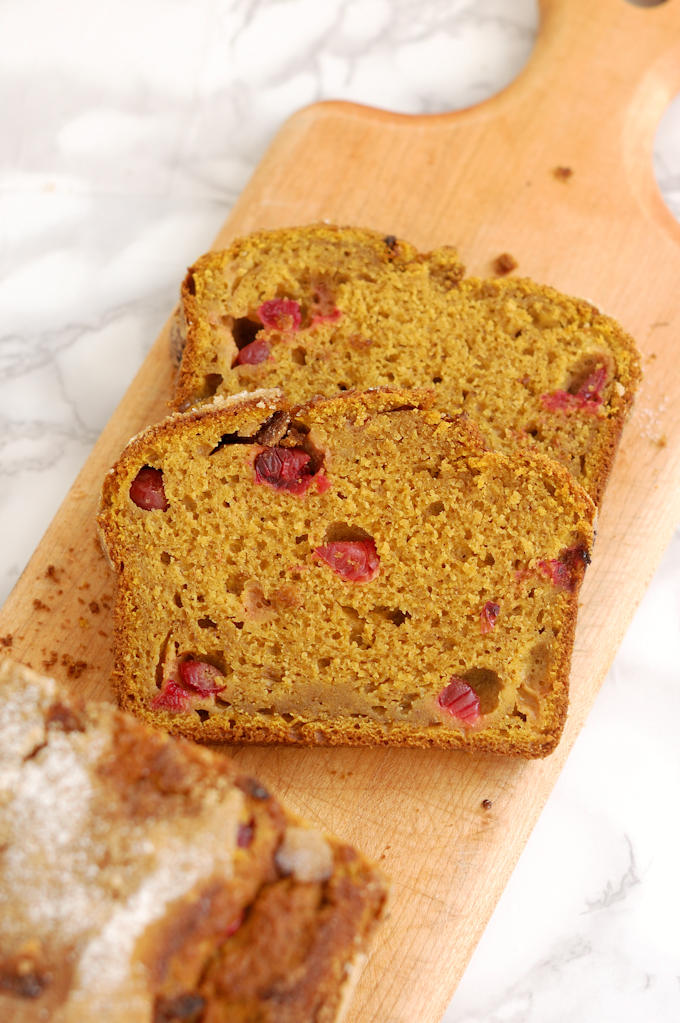 pumpkin cranberry quick bread made with sourdough discard