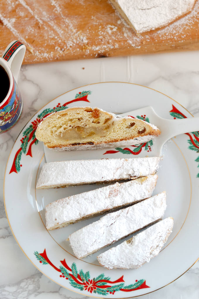 almond filled stollen with sugar coating