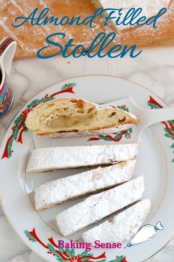 Almond Filled Stollen is a traditional German/Austrian bread rich with butter, almond paste, candied fruit and a hint of rum. #classic #traditional #christmas #marzipan #german #austrian #best #moist