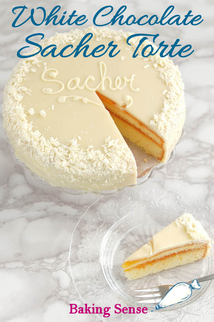 White Chocolate Sacher Torte is an inventive riff on the classic European cake. White chocolate sponge cake is layered with rum-spiked apricot preserves and iced with a sweet white chocolate glaze. Decorate the cake with white chocolate shavings for a beautiful dessert. #moist #easy #scratch #real #best