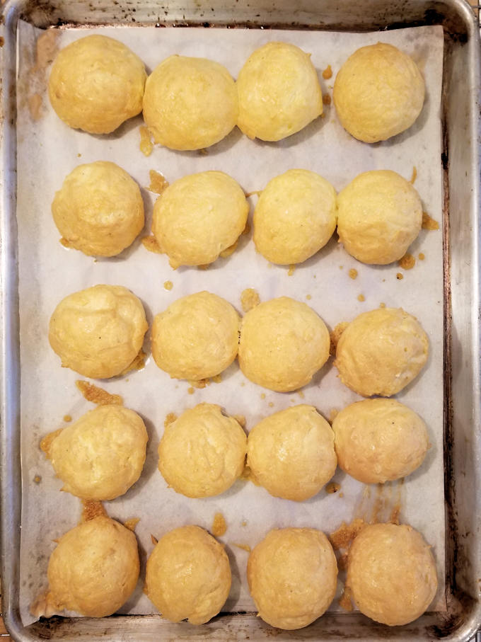 cheesy gougeres hot from the oven