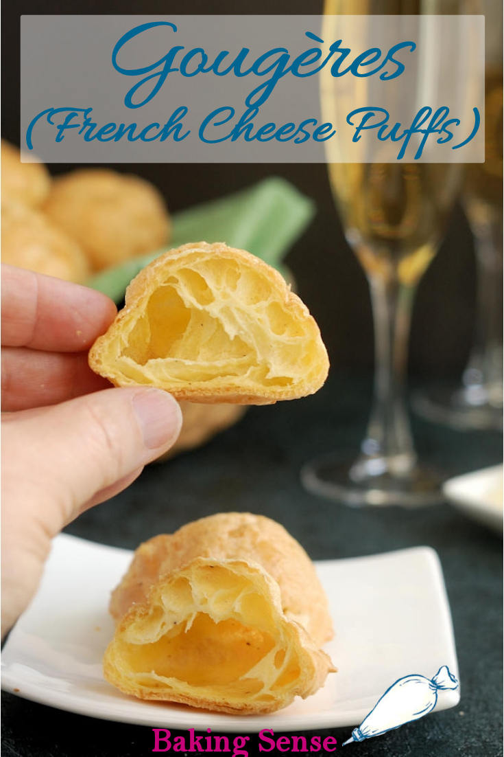 Gougères are cheesy, light puffs made with pâte à choux, the