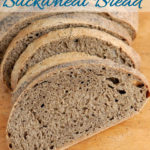a pinterest image for guinness buckwheat bread with text overlay