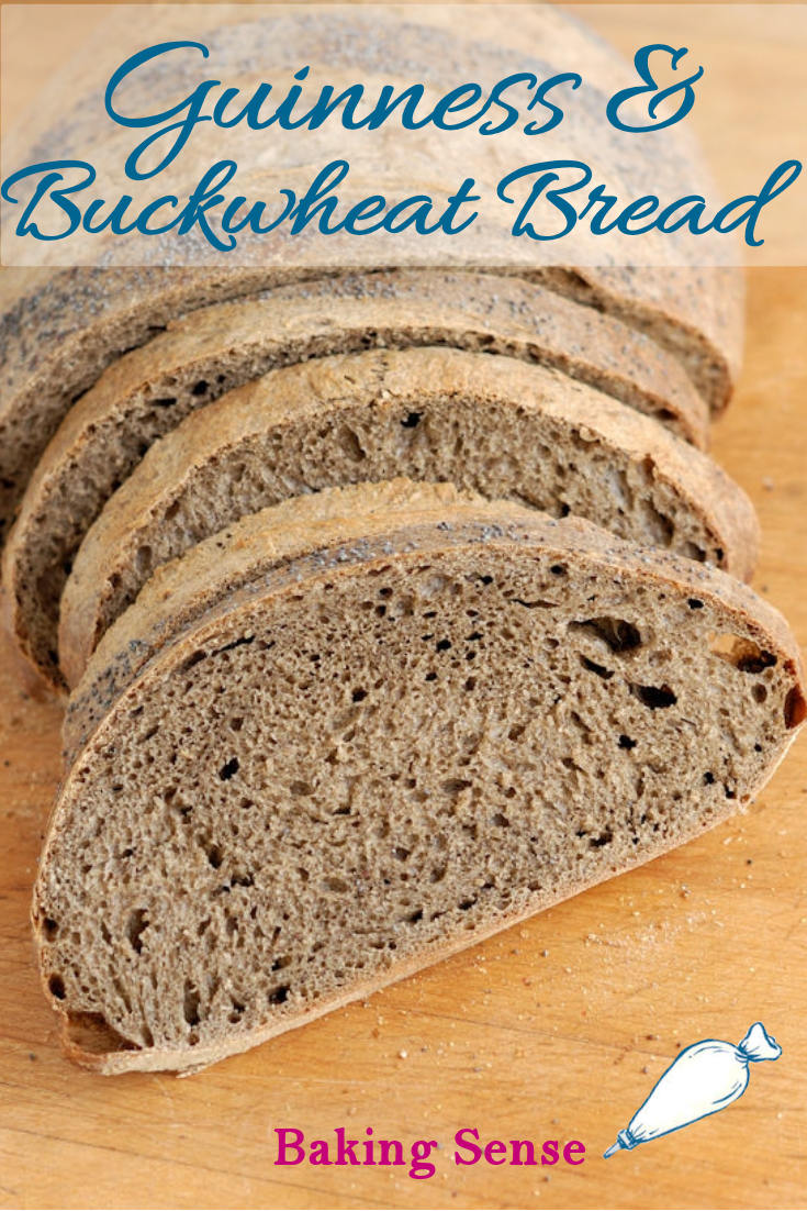 I created this Guinness Buckwheat Breadwith an entire bottle of Guinness Stout in the dough. The stout flavors and aerates the bread and the buckwheat flour lends great flavor and color to the loaf. #irish #stpatricks #sourdough #recipe #buckwheat