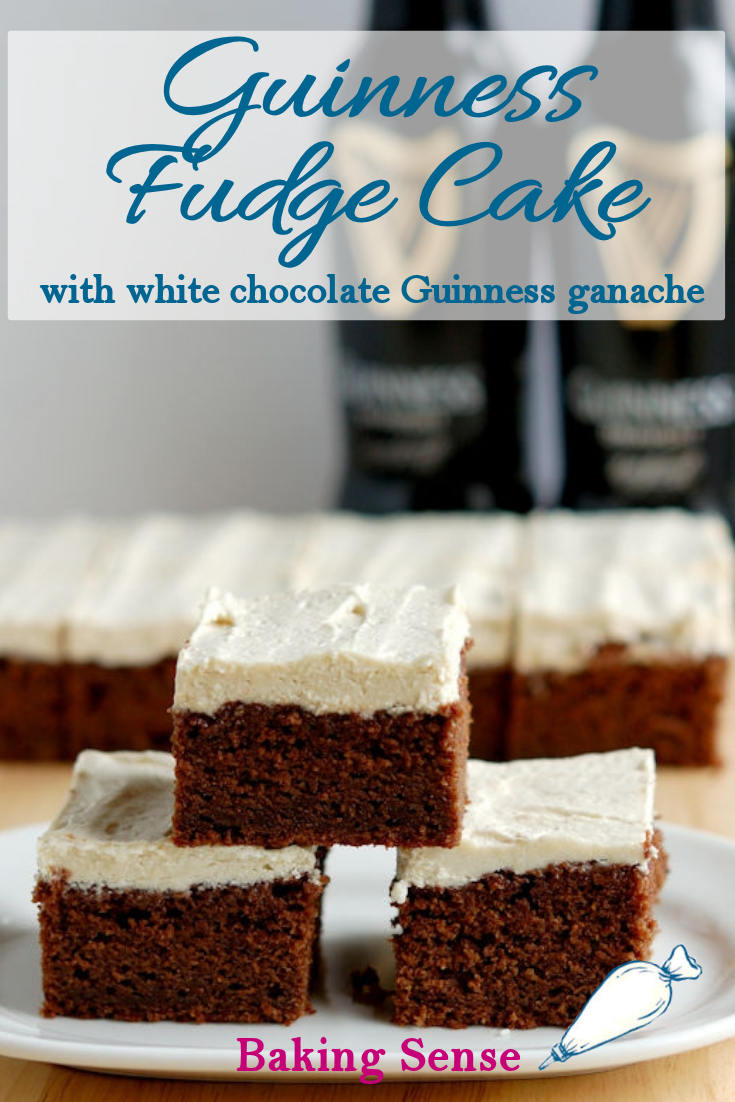 Guinness Chocolate Fudge Cake is a rich & chocolate-y cake with an entire cup of Guinness in the batter. The cake is topped with a whipped white chocolate Guinness Ganache frosting. #guinness #irish #stout #stpatricks #easy #recipe #moist #fudgy