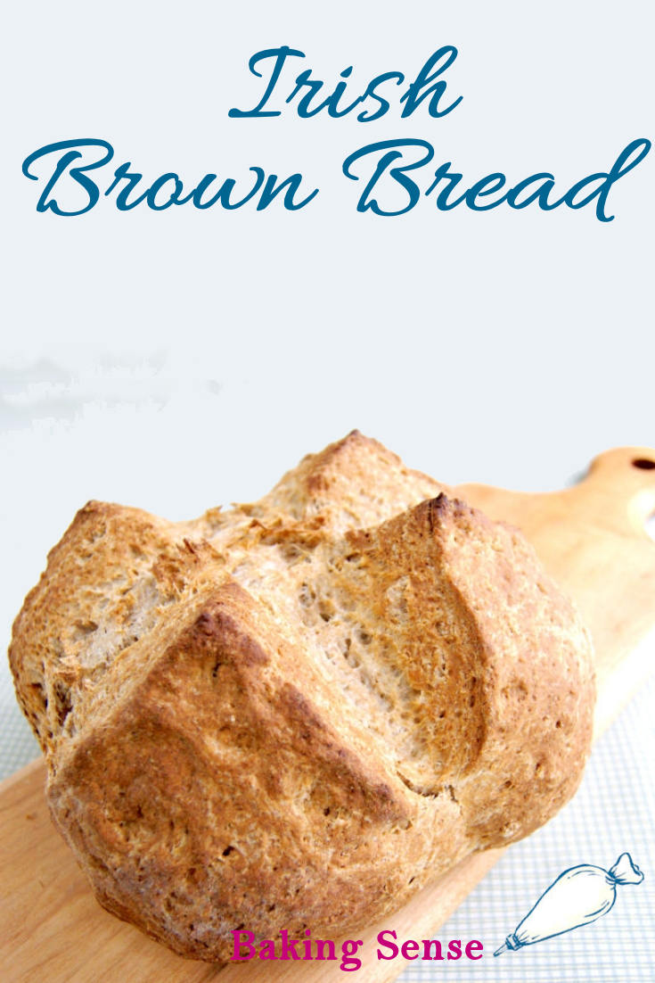 I love Irish Brown Bread even more than the traditional white soda bread with raisins. It's hearty and savory because it's made with whole wheat flour. A smear of butter and some marmalade turns this bread into the perfect breakfast treat. #stpatricks #sodabread #irishsodabread #brownbread #wholegrain #easy #classic