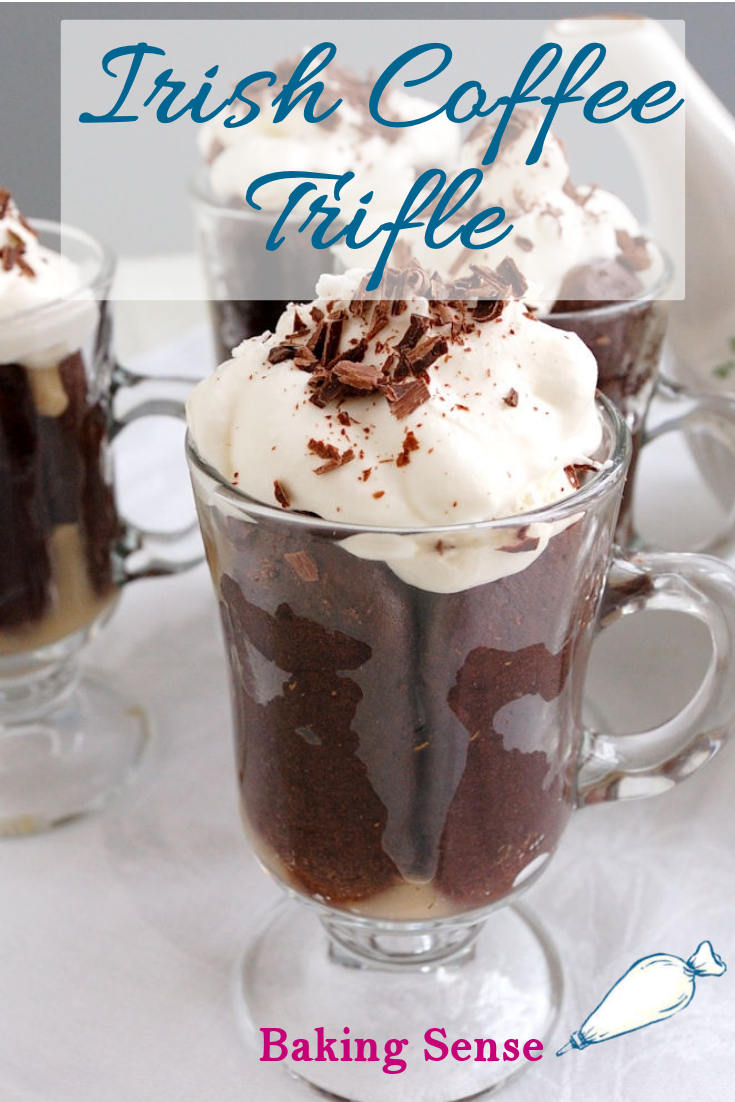 Irish Coffee Trifle is made with cocoa ladyfingers soaked with a coffee/whiskey syrup, coffee pastry cream and lightly sweetened cream on top. #irish coffee #st patricks #irish #whiskey #recipe #easy #best