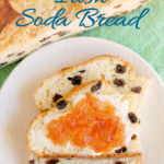 a pinterest image of sliced Irish Soda Bread on a white plate with text overlay
