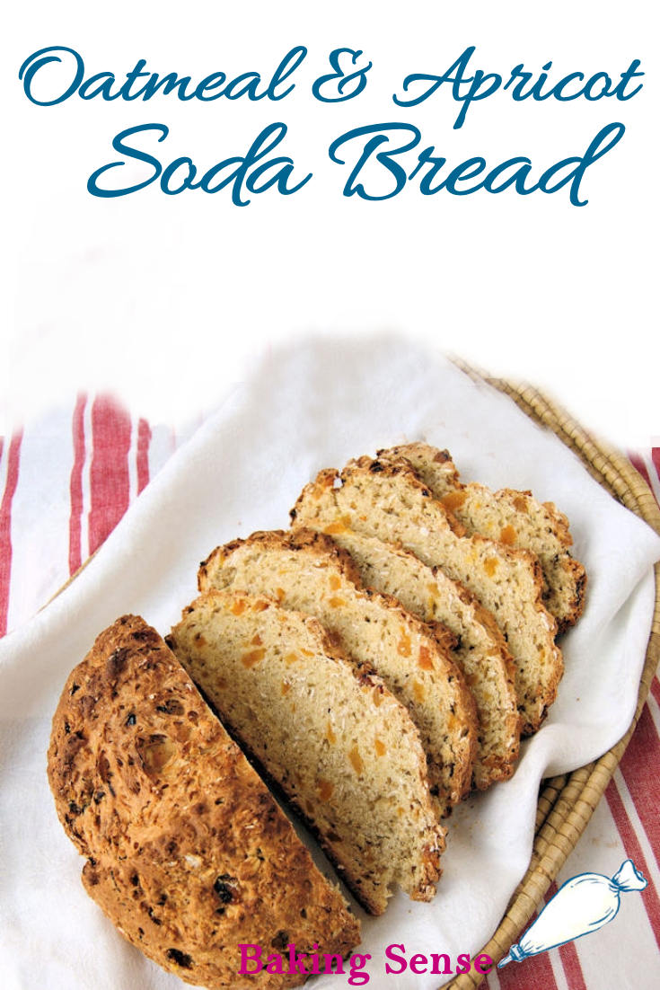 Try Oatmeal Soda Bread with Apricots for a change from the typical raisin soda bread. This healthy and hearty soda bread is made with rolled oats and dried apricots. #sodabread #irish #oats #easy #recipe #howto