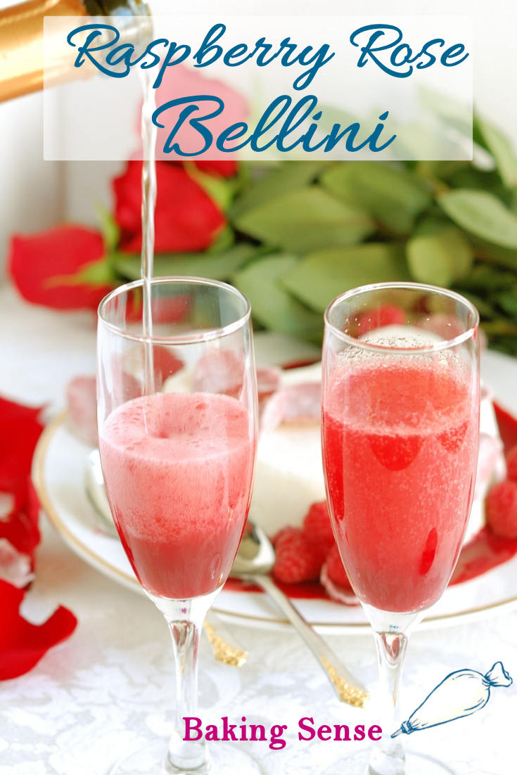This Raspberry Rose Bellini is the perfect start for a romantic evening. Made with prosecco and homemade raspberry rose sauce. #valentines #romantic #easy #cocktail #bubbly