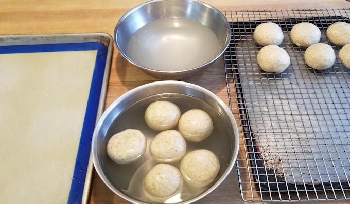 set up for soaking rye pretzel rolls