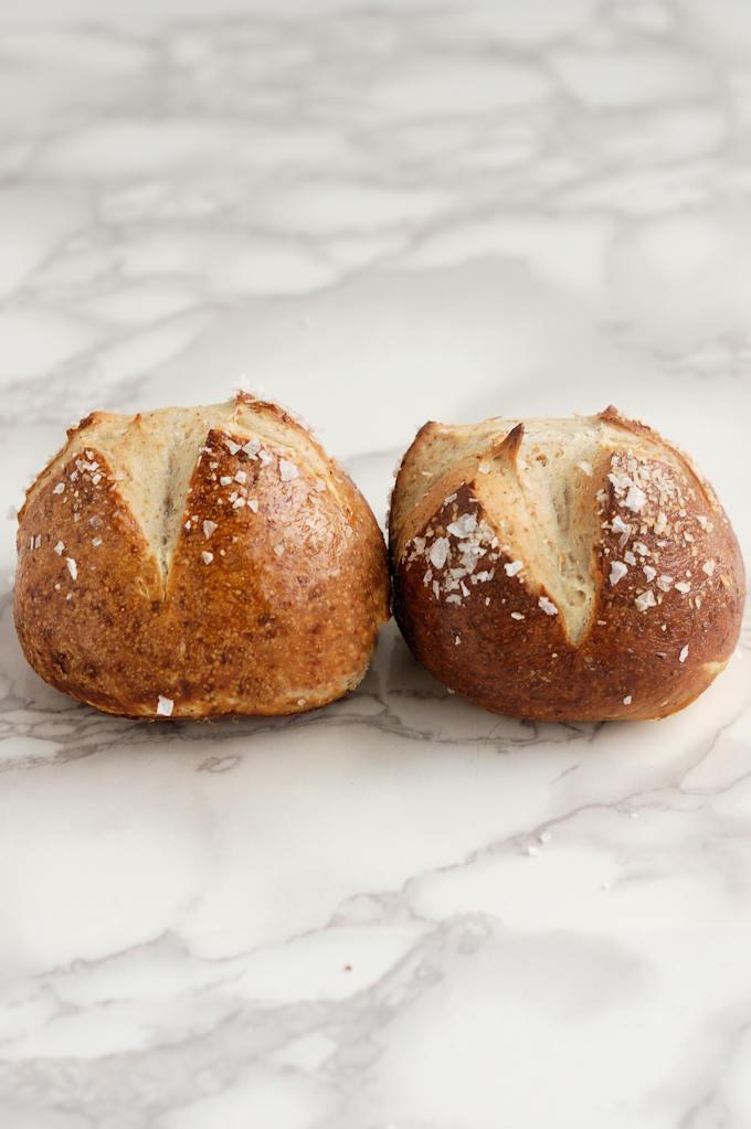 two malt and rye pretzel rolls