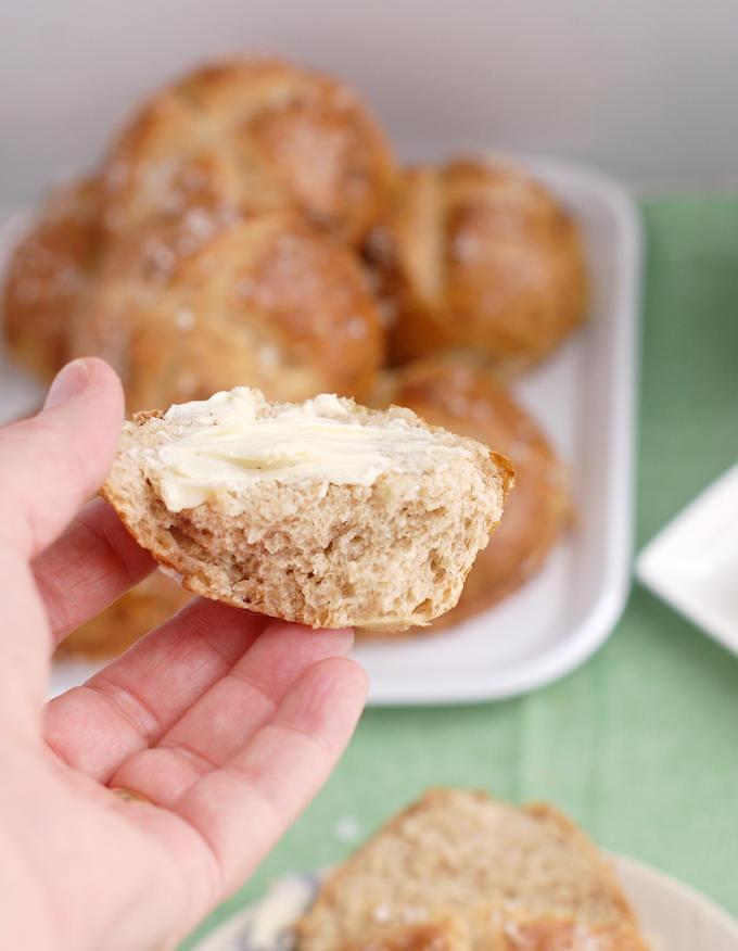 malt and rye pretzel rolls have a soft crumb and complex flavor