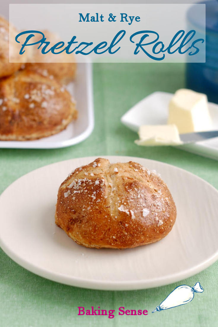 """A hint of barley malt syrup and a bit of stone ground rye flour give these Malt & Rye Pretzel Rolls a slightly sweet and complex flavor. The flavor really stands up to the extra """"pretzel-y"""" crust. What's the secret to that great crust? #baking soda #rye #barley malt syrup #homemade #scratch #best #moist #how to #recipe"""