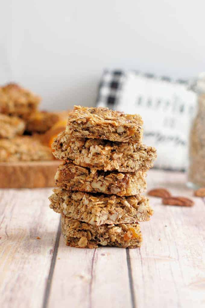 a stack of apricot granola bars