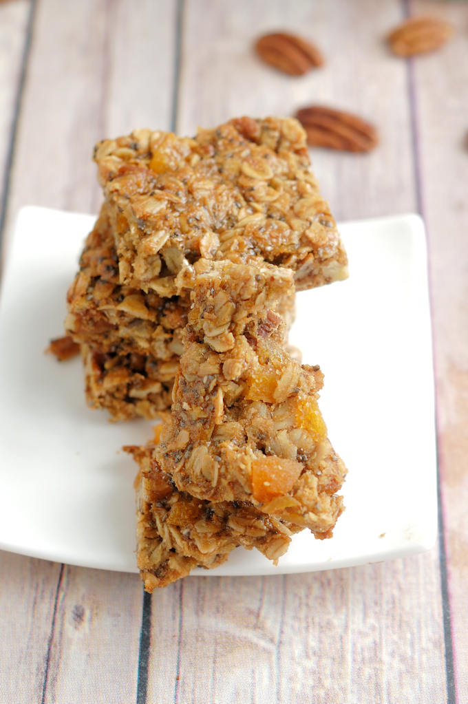 a plate of sunflower granola bars