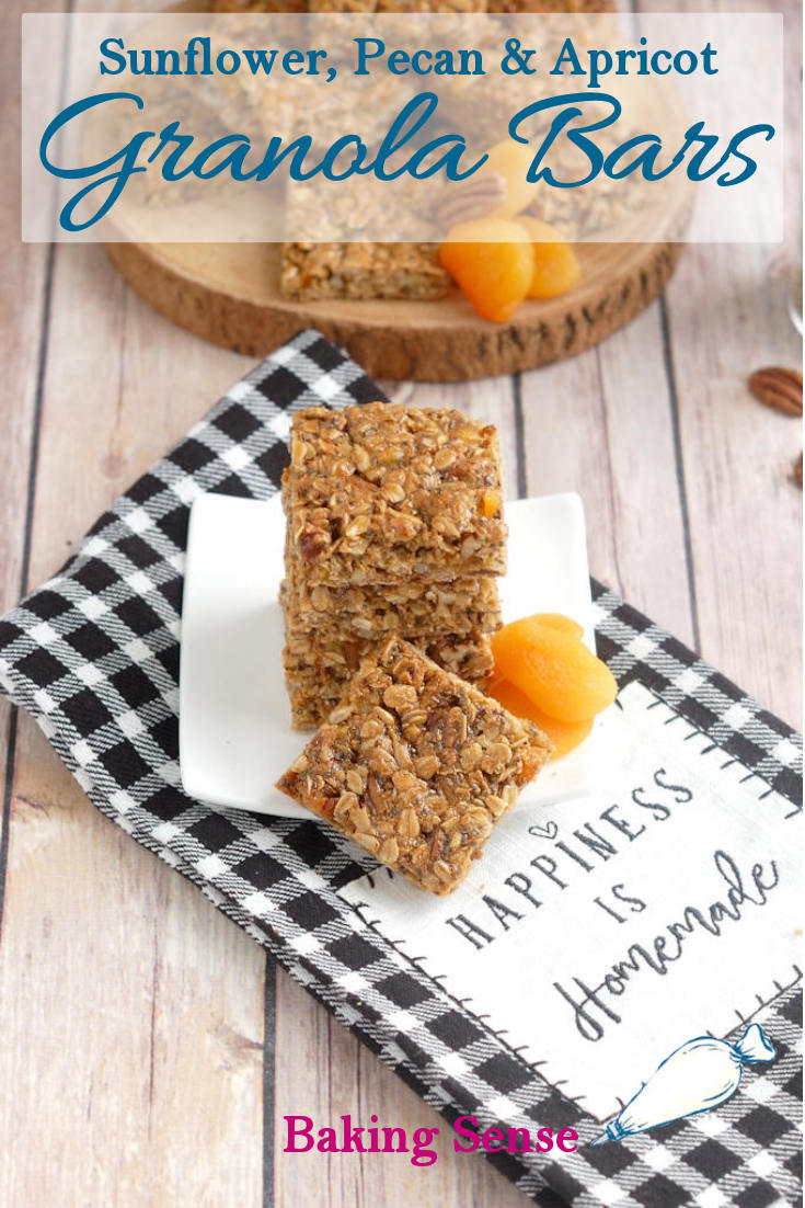 Homemade Sunflower, Pecan & Apricot Granola bars are a nutritious and delicious treat that you can enjoy for breakfast or as a snack. This recipe is abundant with healthy ingredients like sunflower seeds, sunflower butter, pecans, oats and protein-rich egg whites. You can feel great about making these any time the mood strikes. #granola bars #chewy #easy #healthy #lowfat #lowsugar #recipe #best #
